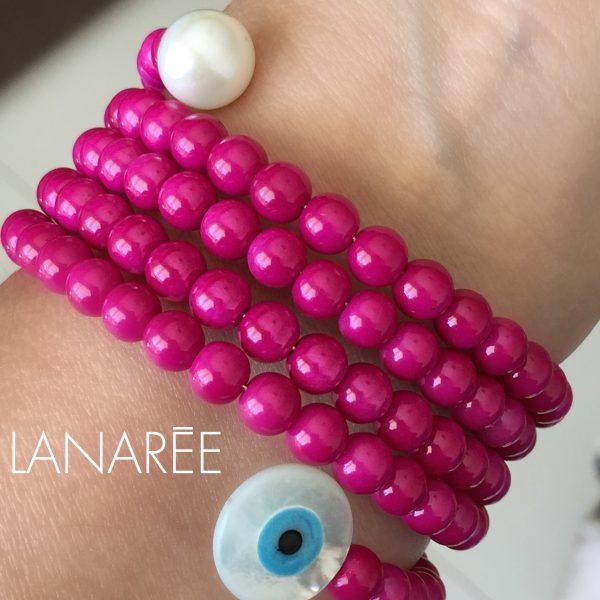 Pulseira Olho Grego em Madrepérola com Pérolas Shell Pink | Lanarée Acessórios
