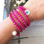 Pulseira Olho Grego Com Pérolas Pink | Lanarée Acessórios