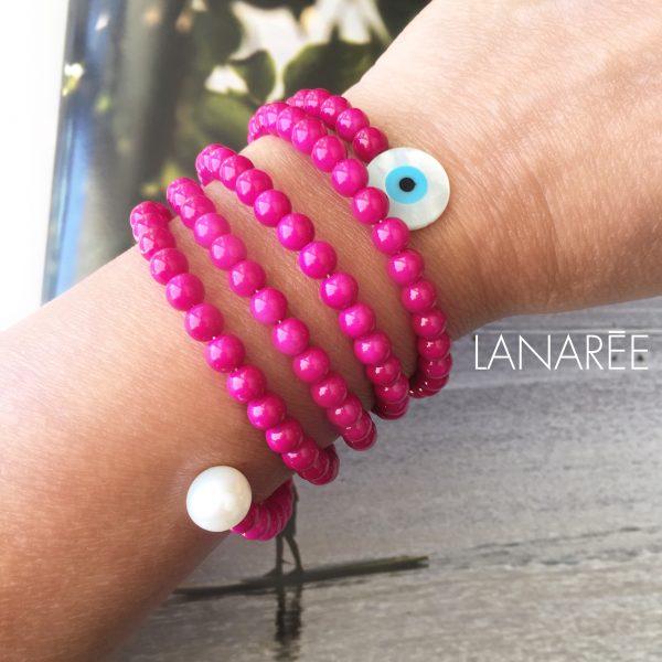 Pulseira Olho Grego em Madrepérola com Pérolas Shell Pink   Lanarée Acessórios