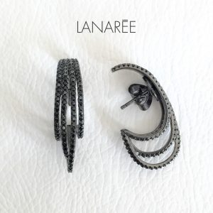 Brinco Ear Hook Luxo Quatro Linhas | Lanarée Acessórios