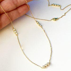 Colar Corrente Tiffany 3 Pontos de Luz   Lanarée Acessórios