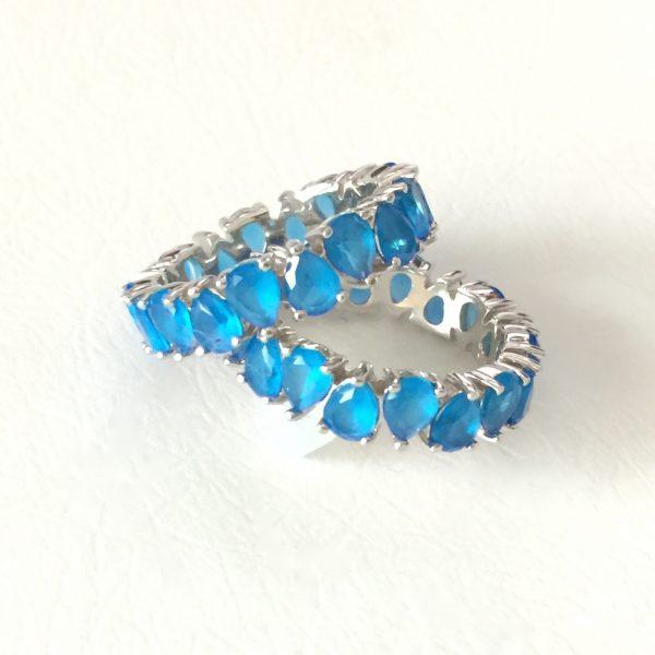 Anel Aliança Gota Azul Prata 925 | Lanarée Acessórios