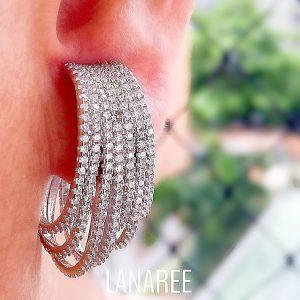 Brinco Ear Hook Luxo Sete Linhas | Lanarée Acessórios