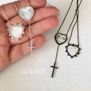 Colar Escapulário Coração Nossa Senhora Ródio | Lanarée Acessórios