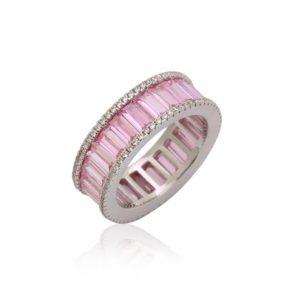 Anel Cristal Quartzo Rosa Lapidação Baguete | Lanarée Acessórios