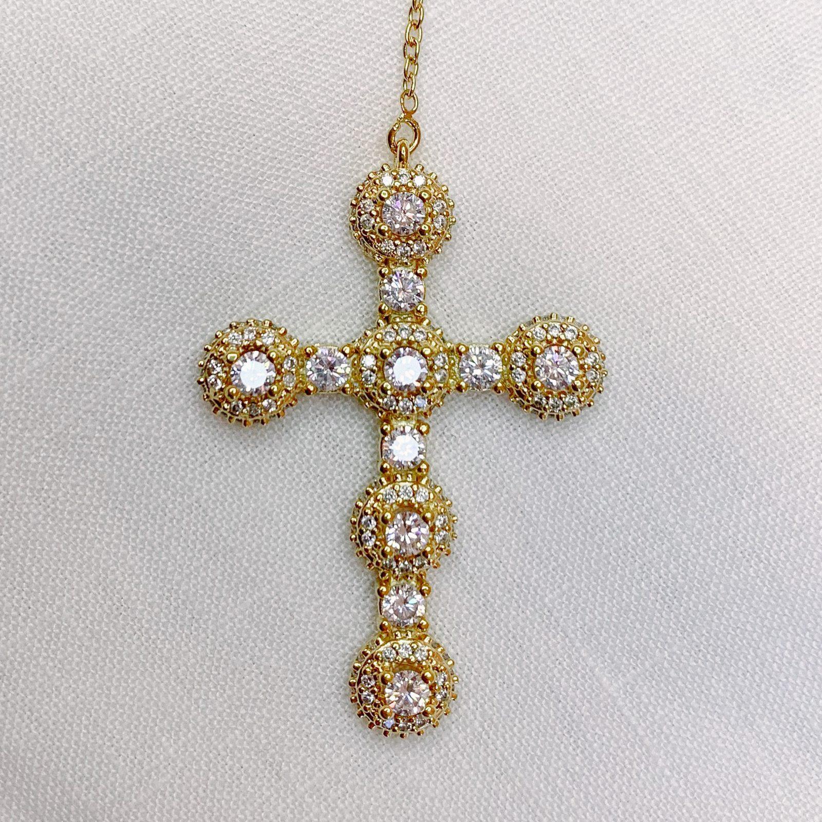 Colar Crucifixo Pontos de Luz Cravejado | Lanarée Acessórios
