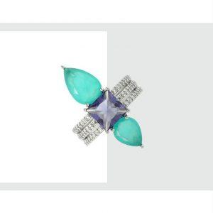 Anel Cristal Tanzanita com Gotas Paraíba | Lanarée Acessórios