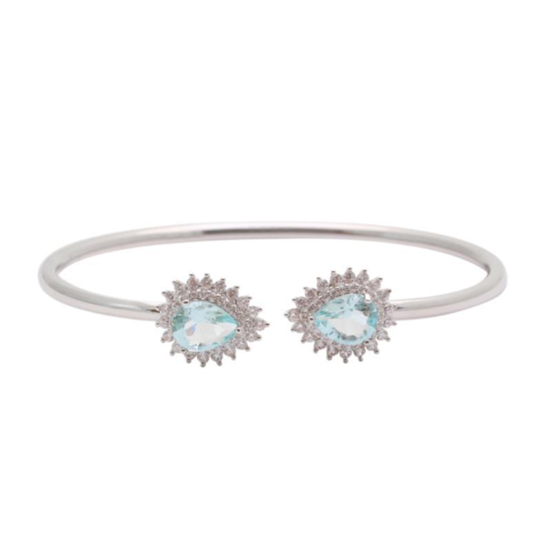 Pulseira Bracelete Duas Gotas Topázio Azul | Lanarée Acessórios