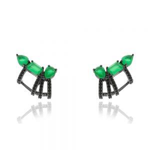 Brinco Ear Cuff 3 Cristais Ágata Verde | Lanarée Acessórios