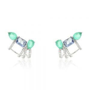 Brinco Ear Cuff Cristal Tanzanita Com Gotas Paraiba | Lanarée Acessórios