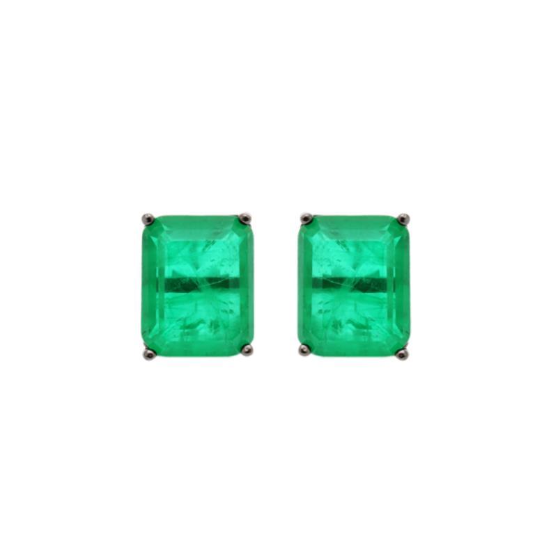 Brinco Retângulo de Cristal Fusion Esmeralda | Lanarée Acessórios
