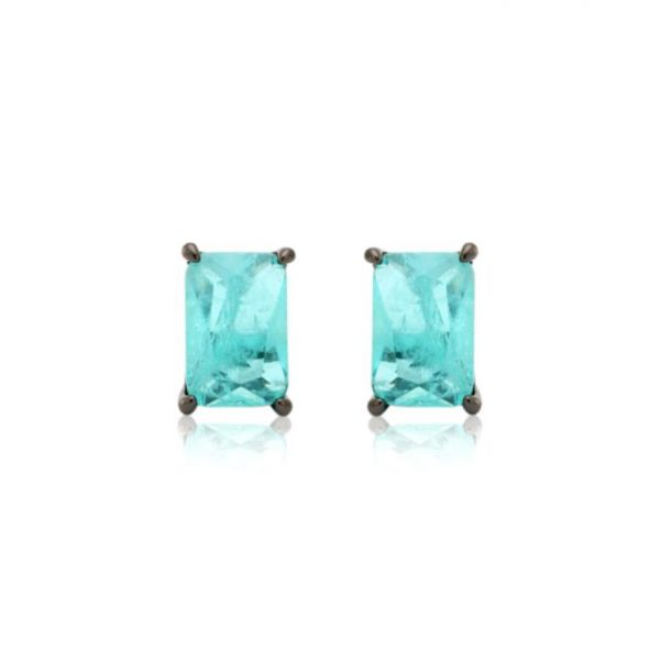 Brinco Retângulo de Cristal Fusion Turmalina | Lanarée Acessórios