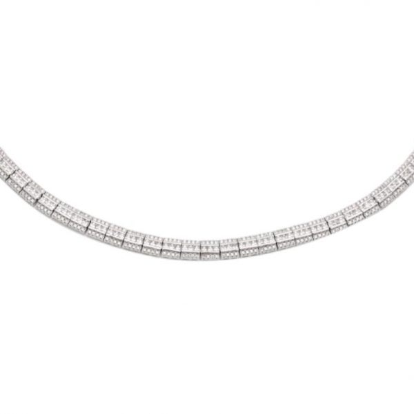 Colar Choker Trilho de Zirconias Brancas Semijoia | Lanarée Acessórios