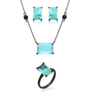 Colar Retângulo de Cristal Fusion Turmalina | Lanarée Acessórios