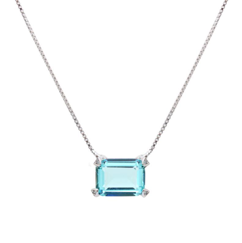 Colar Retângulo de Cristal Topázio Azul   Lanarée Acessórios