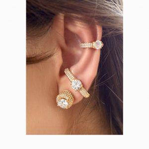 Brinco Ear Hook Ponto Luz Cravejado | Lanarée Acessórios