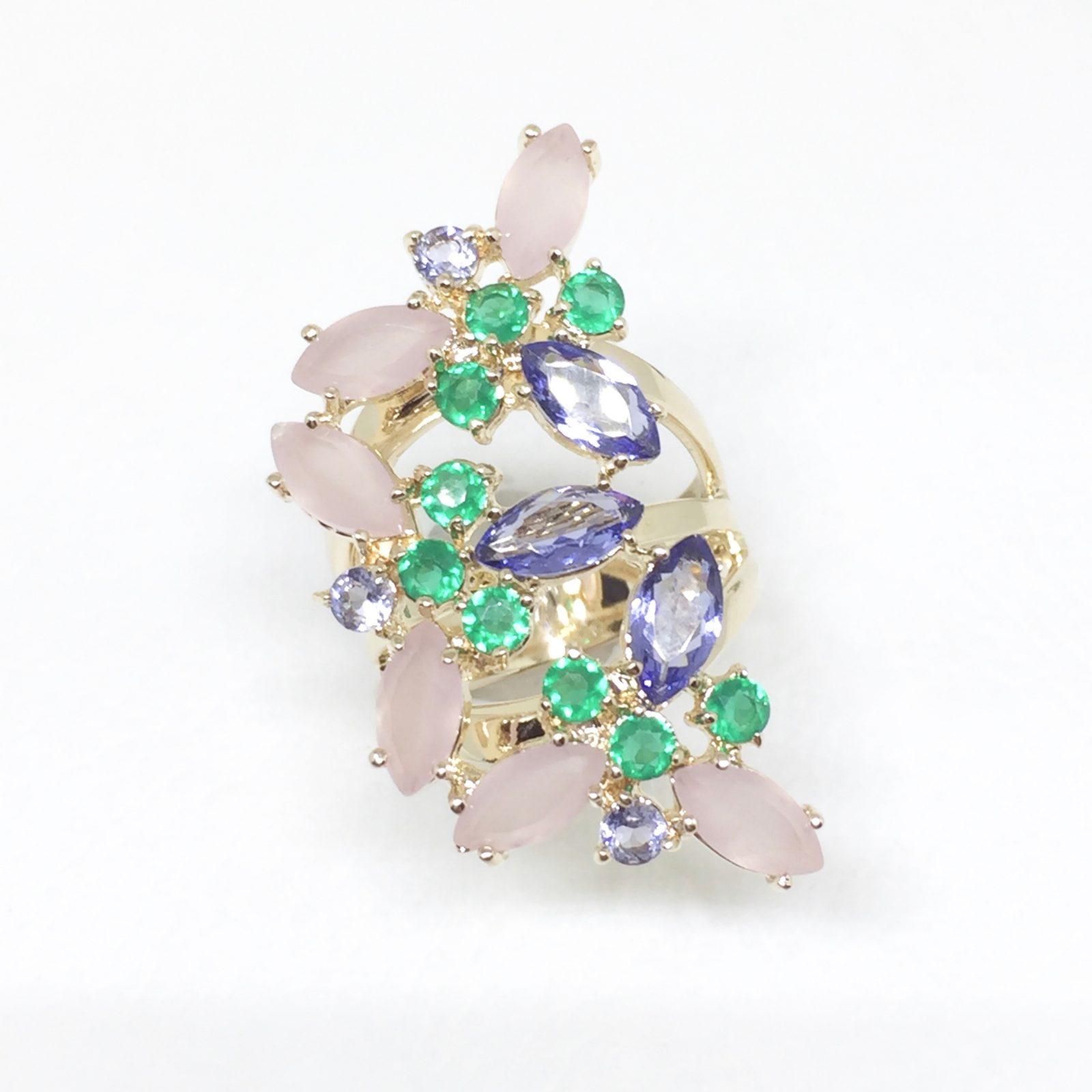 Anel Cristal Tanzanita Crisopázio | Lanarée Acessórios