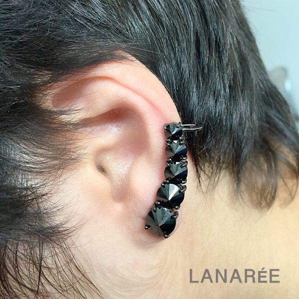 Brinco Ear Cuff Zircônia Negra Invertida | Lanarée Acessórios