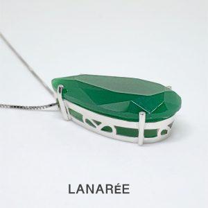 Colar Gota Cristal Esmeralda Leitosa | Lanarée Acessórios