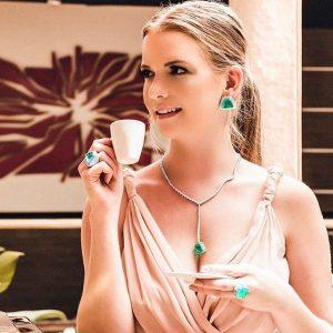 Anel Brinco Colar Solene Esmeralda Fusion Ródio Negro | Lanarée Acessórios