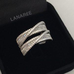 Anel Duplo Baguete Prata 925 | Lanarée Acessórios