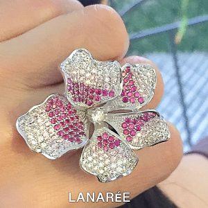 Anel Florence Rosa Rubi Luxo | Lanarée Acessórios