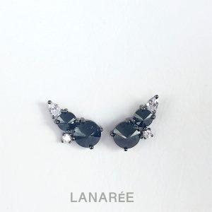 Brinco Ear Cuff Duas Zircônias Negras Invertidas | Lanarée Acessórios
