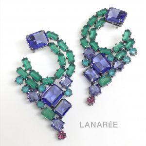 Brinco Encantado Cristais Jade Verde Tanzanita | Lanarée Acessórios