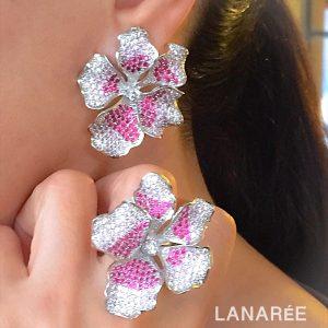 Brinco Florence Rosa Rubi Luxo | Lanarée Acessórios