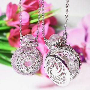 Colar Relicário Cristal Quartzo Rosa | Lanarée Acessórios