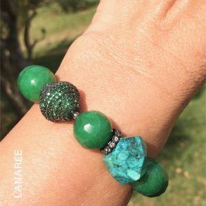 Pulseira de Jade Verde e Rubi Soizith | Lanarée Acessórios