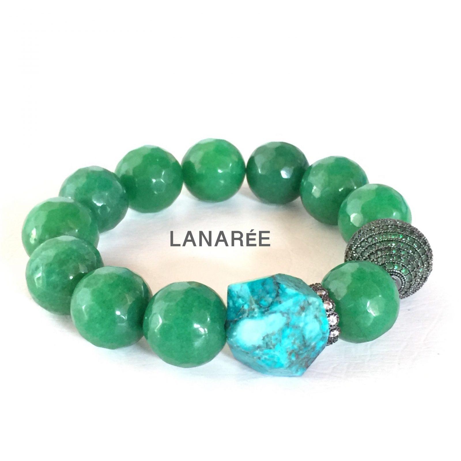 Pulseira de Jade Verde e Rubi Soizith   Lanarée Acessórios