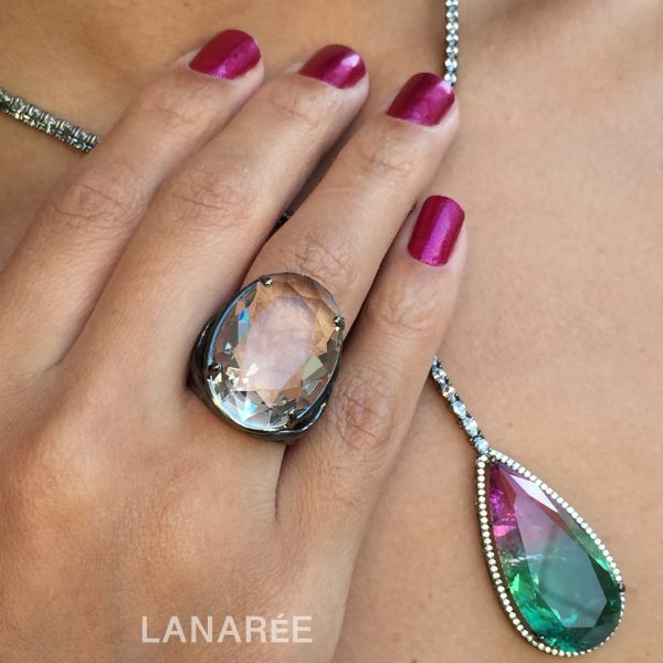 Anel Athena Cristal Transparente   Lanarée Acessórios