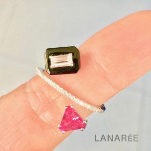 Anel Triângulo Turmalina Rosa   Lanarée Acessórios