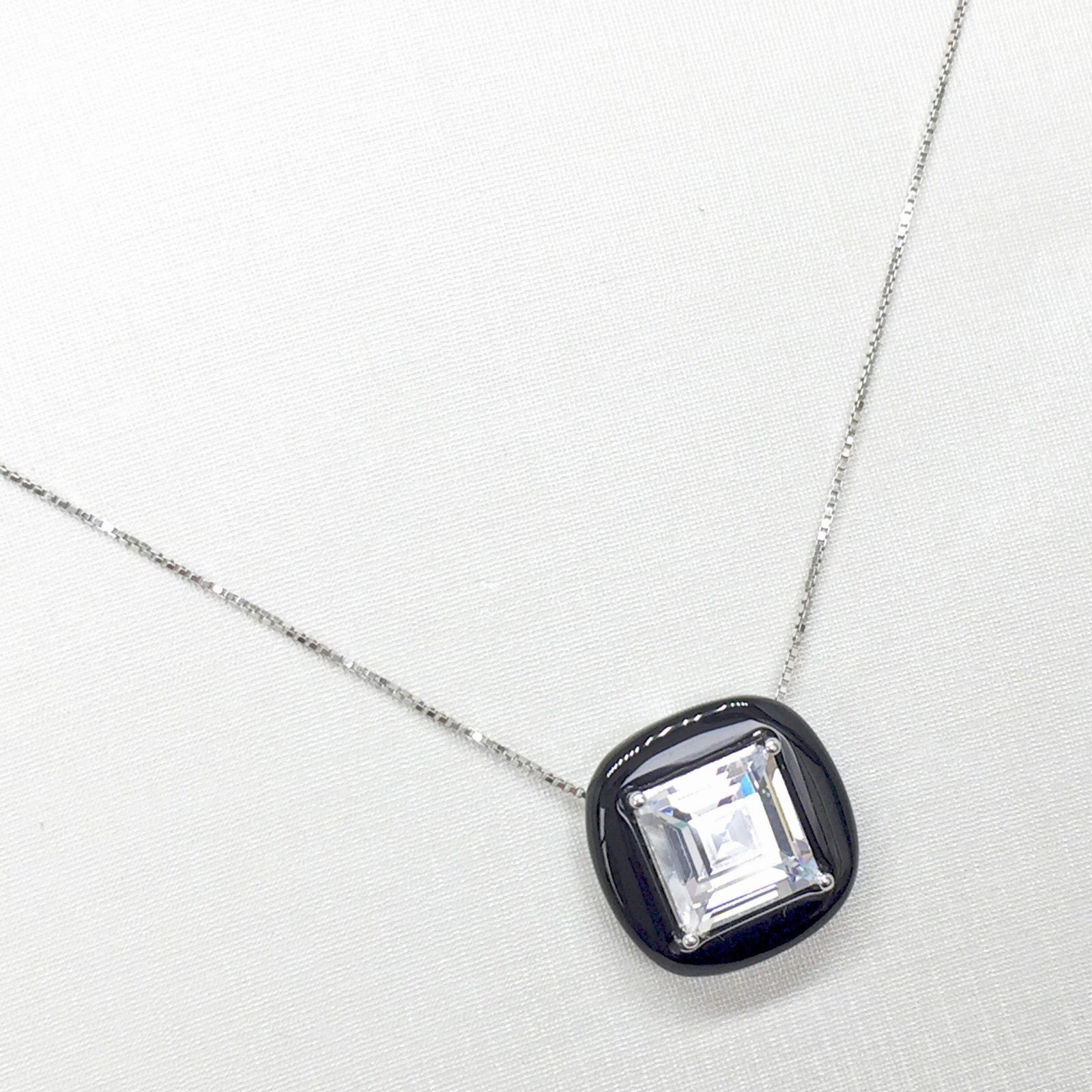 Colar Quadrado Zircônia Cristal | Lanarée Acessórios