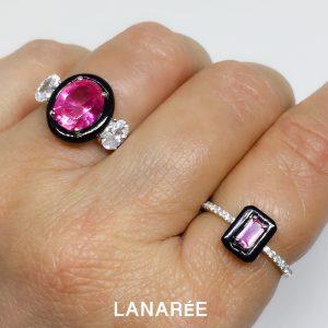 Anel Retângulo Turmalina Rosa | Lanarée Acessórios