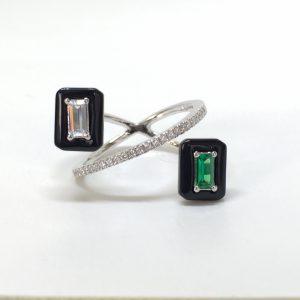 Anel Retângulos Cristal e Verde Esmeralda | Lanarée Acessórios