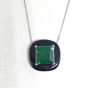Colar Quadrado Zircônia Verde Esmeralda   Lanarée Acessórios