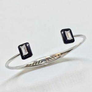 Pulseira Bracelete Dois Retângulos Cristal | Lanarée Acessórios