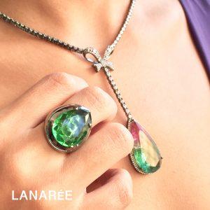 Anel Super Gota Cristal Esmeralda   Lanarée Acessórios