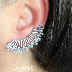 Brinco Ear Cuff Baguete Luxo Prata 925 | Lanarée Acessórios