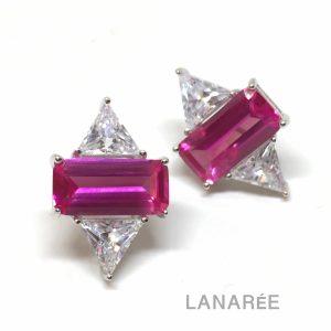 Brinco Retângulo Turmalina Rosa | Lanarée Acessórios