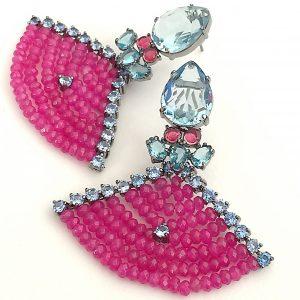 Brinco Jade Pink com Cristal Topázio Azul | Lanarée Acessórios