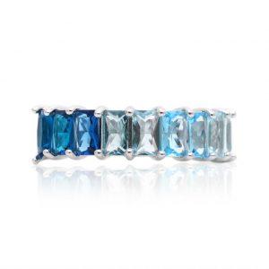 Anel Meia Aliança Degradê Azul em Prata 925 | Lanarée Acessórios