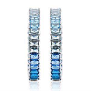 Brinco Argola Degradê Azul em Prata 925 | Lanarée Acessórios