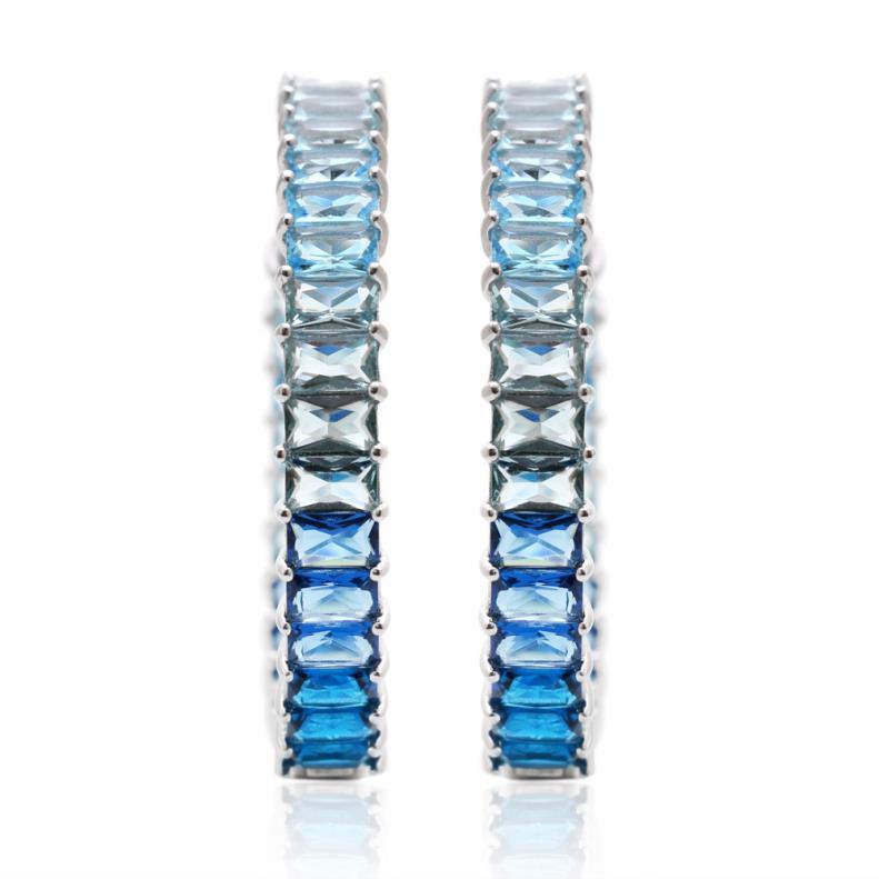 Brinco Argola Degradê Azul em Prata 925   Lanarée Acessórios
