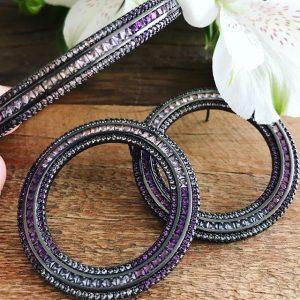 Pulseira Bracelete Trilho Degradê Cristal Ametista | Lanarée Acessórios