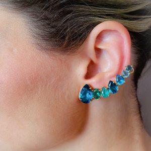 Brinco Ear Cuff Alegria Cristal Apatita   Lanarée Acessórios