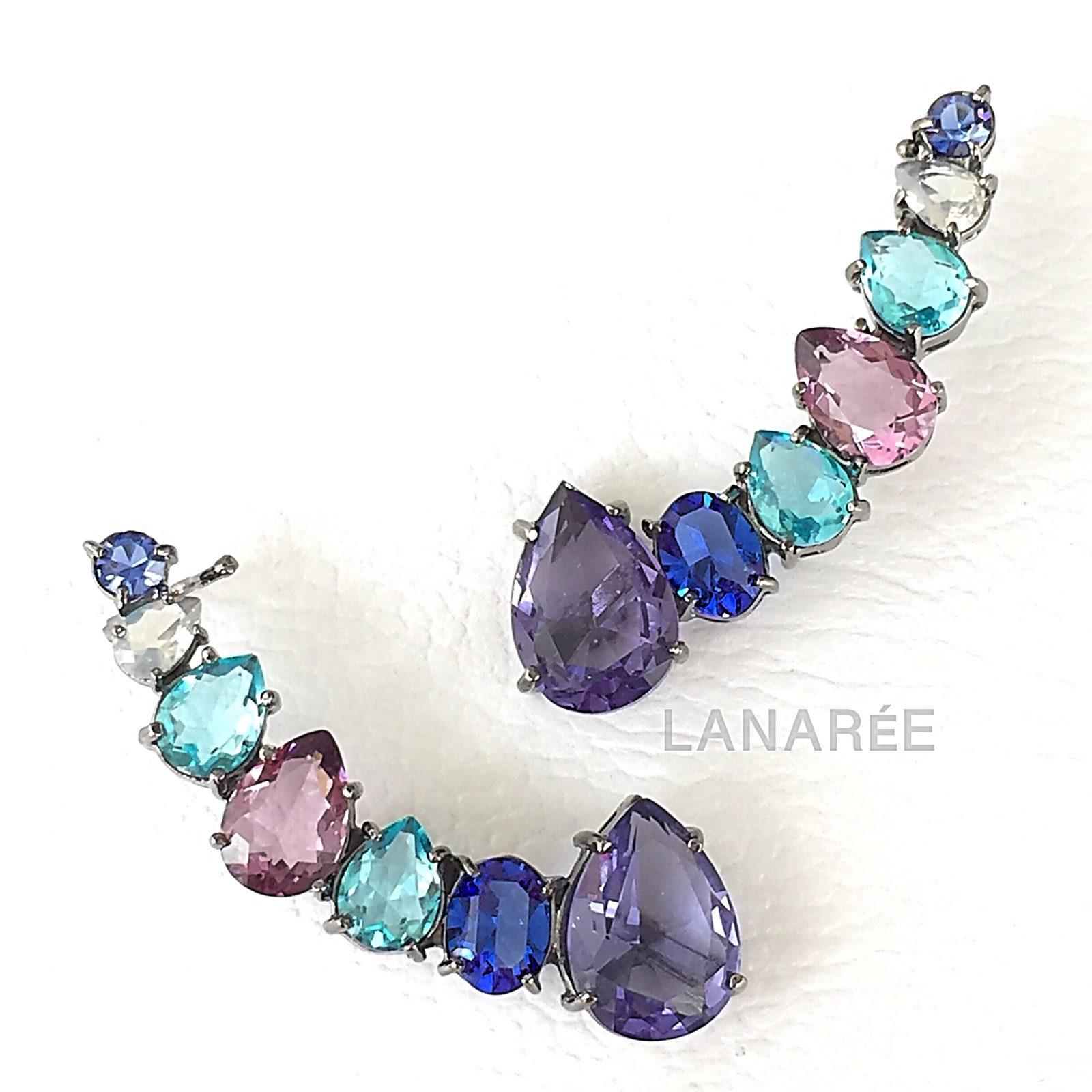 Brinco Ear Cuff Alegria Cristal Tanzanita | Lanarée Acessórios