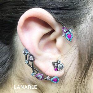 Brinco Ear Cuff Hera Cristal Rubi  Lanarée Acessórios